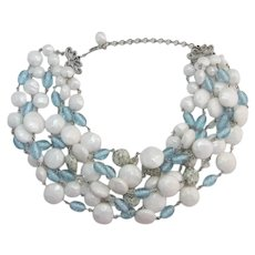 Six Strand Imitation Pearl, Blue and Blue-grey Speckled Beaded Necklace