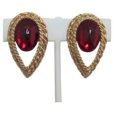 Dramatic Ruby-red and Gold-tone Earrings