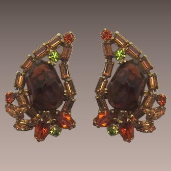 Weiss Earrings with High-Domed Asymmetrical Rhinestones