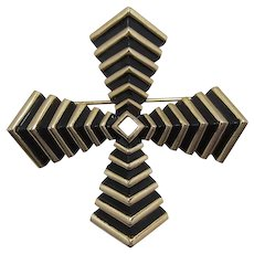 Trifari Gold-tone and Black Enameled Maltese Cross Pin