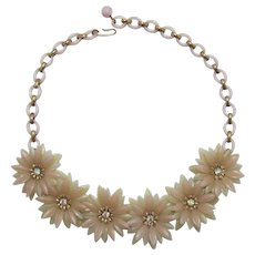 Pale Pink and Pale Chartreuse Soft Flower Petal Necklace + Free Earrings