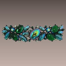 Vibrant Rousseau Green Iridescent Cabochon Brooch