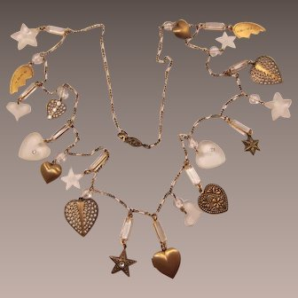 Long Necklace with Hearts and Stars Dangling Charms