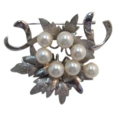 Sterling Silver Cultured Pearl Brooch/Pendant