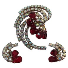 Highly Dimensional Brooch and Earrings with Ruby-Red and AB Rhinestones