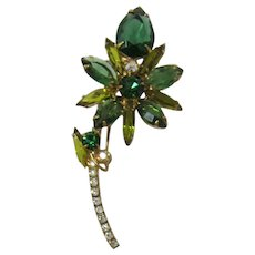 &E / Juliana Tourmaline and Olivine Rhinestone Flower Brooch