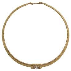 Christian Dior Elegant Gold-tone and Clear Rhinestone Necklace
