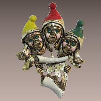 Three Christmas Carolers with Enameled Hats Pin