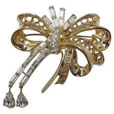 Coro Craft Corocraft Elaborate Rhinestone Bow Brooch