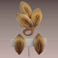 Napier Bright Gold-tone Brooch and Earring Set