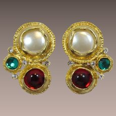 Green, Red and Imitation Pearl Modernist Holiday Earrings