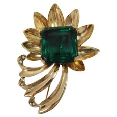 Reja Sterling Silver Vermeil Flower Bouquet with Huge Green Stone