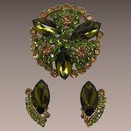 Stunning Hobe' Huge Olivine Rhinestone Brooch & Earring Set