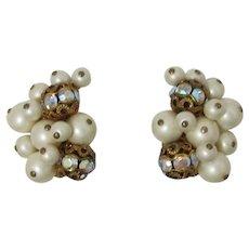 Beautiful Kramer Pearl and AB Beaded Earrings