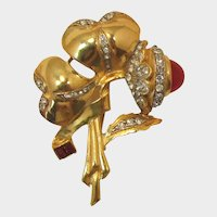 Beautiful Retro Gilded Flower Brooch with Large Ruby Red Glass Bud