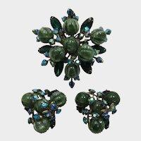 Striking Multi-Green Rhinestone Brooch and Earrings
