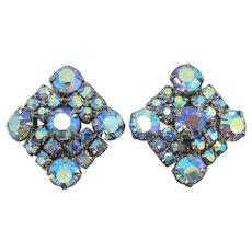 Blue Aurora Borealis Rhinestone Earrings
