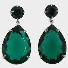 1980's Large Green Pear-Shaped Rhinestone Pierced/Post Earrings