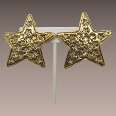 Large Gold-tone and Rhinestone Star Earrings -  Frank DeLizza's Archives