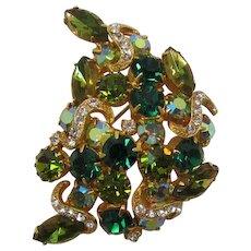 Emerald Green, Olivine Green and Peridot Green Rhinestone Brooch