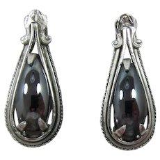 Elegant Whiting & Davis Elongated Hematite Earrings