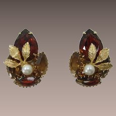 Madeira Topaz Rhinestone Earrings