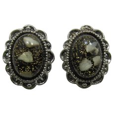 Silver-tone Earrings with High-Domed Black Confetti Cabochons