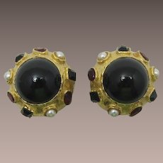 Bold Gold-tone and Black Cabochon High-Domed Earrings