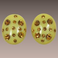 Bright Yellow Thermoplastic Earrings with Topaz Rhinestones