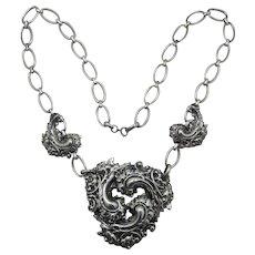 Dramatic Nouveau Style Silver-Plated Huge Pendant Necklace