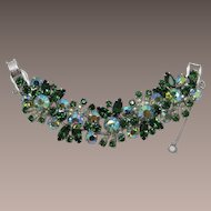 Glitzy D&E Juliana Wide Green Rhinestone Bracelet
