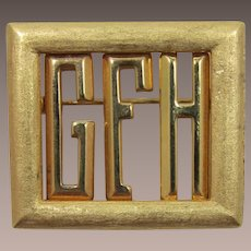 "Old Initial or Monogram Pin ""GFH"" - Changeable"