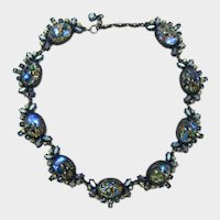 Dramatic Blue & Green Cat's Eye Foiled Cabochon Necklace