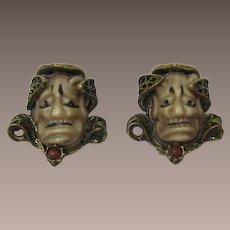 Fabulous Antique Gold-tone Noh or Devil Face Earrings