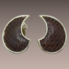 Fun Lisner Faux Brown Snakeskin Earrings
