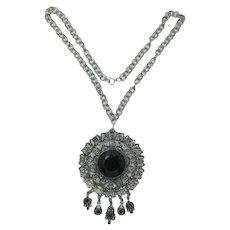 Goldette Style Asian Motif Large Pendant Necklace