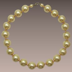 Large Faux Golden Pearls Necklace