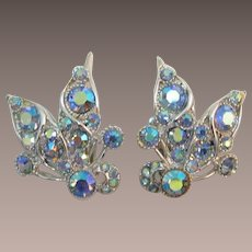 BSK Blue Aurora Borealis Rhinestone Earrings