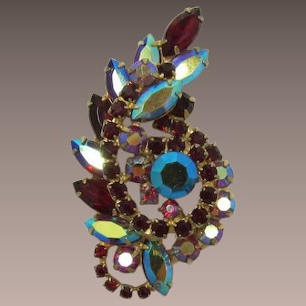 Gorgeous Red and Red Aurora Borealis Rhinestone Brooch