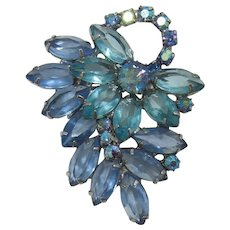 Blue and Aquamarine Navette Flower Brooch