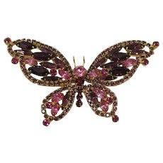 Gorgeous Juliana Wide Pink Rhinestone Butterfly - Book Piece