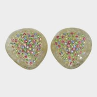Large Iridescent Confetti Earrings with Embedded Pastel Rhinestones