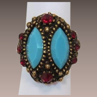 Frankly Fake Turquoise and Ruby Rhinestone Ring
