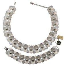 Napier Mid-Century Modernist Rhodium Plated Necklace and Bracelet Set