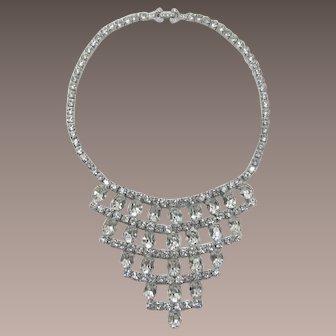 Gorgeous Clear Oval Rhinestone Tiered Bib Necklace