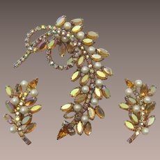 Bold Imitation Topaz and Pearl Brooch and Earring Set