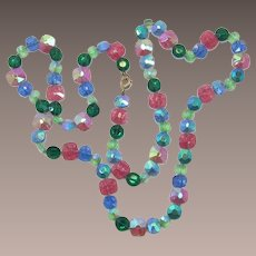 Bright Pastel Hand-Knotted Glass Beaded Necklace