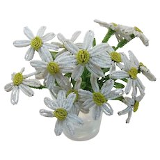Seven (7) Beautiful Old Daisy Beaded Flowers