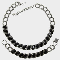 Silver-tone and Black Navette Rhinestone Necklace and Bracelet