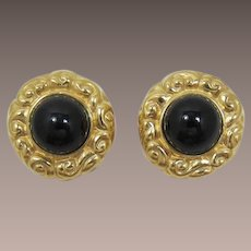 Ciner Bold Gold-tone and Black Cabochon Earrings